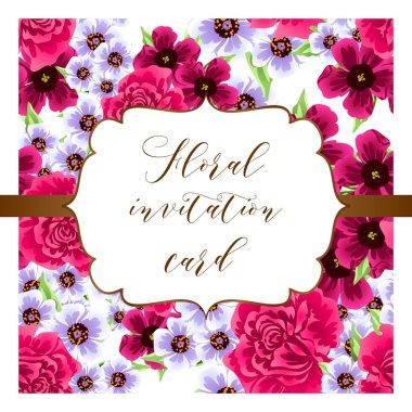 Vintage style ornate flower card. Floral elements in color