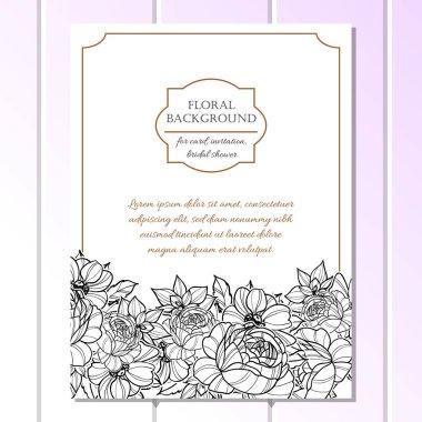 Vintage style ornate flower wedding card. Floral elements in contour