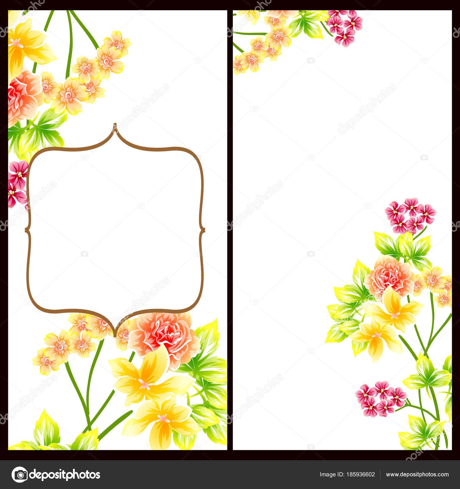 Vintage Style Flower Wedding Cards Set Floral Elements Frames
