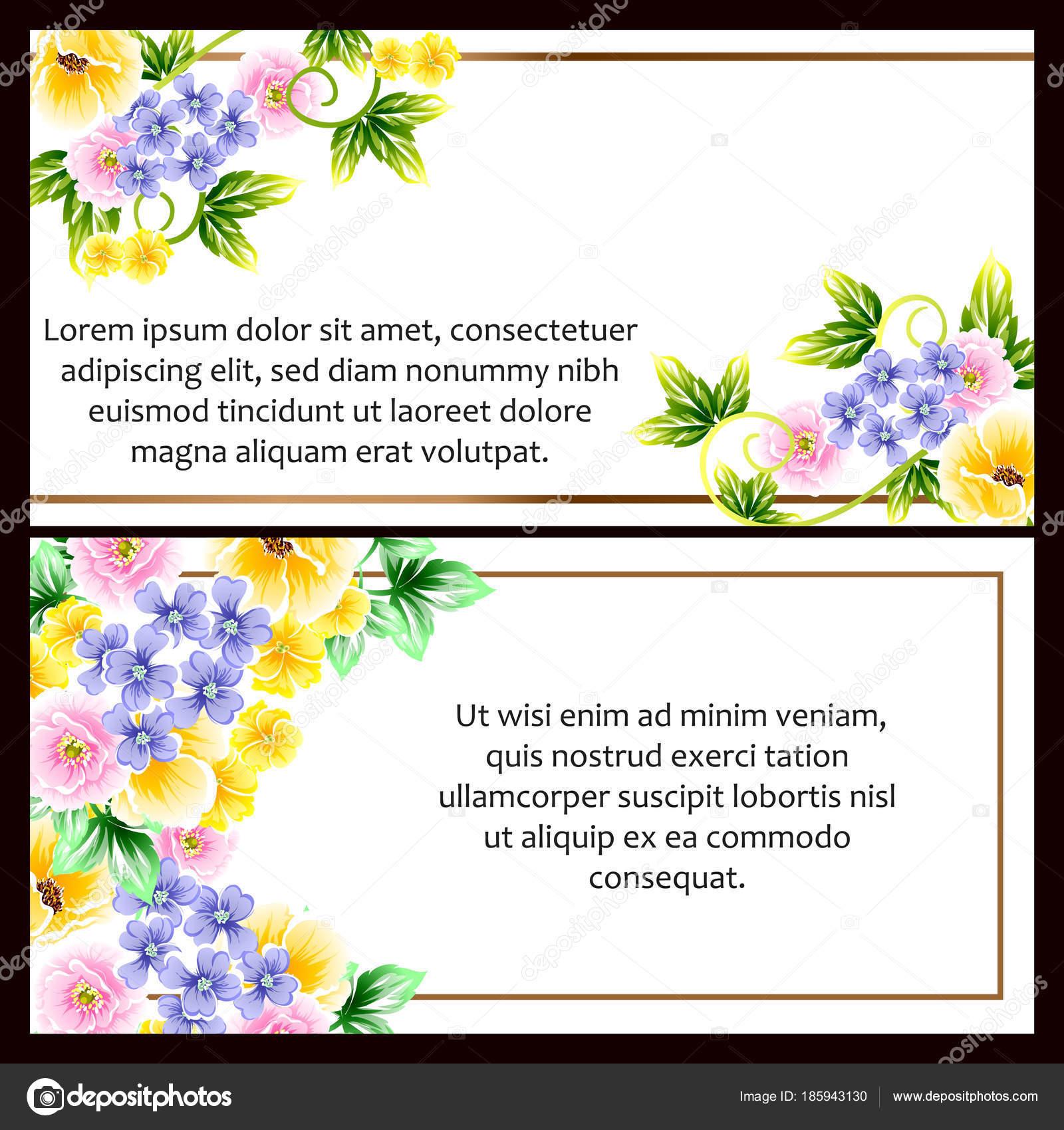 Set Tarjetas Boda Estilo Vintage Flores Marcos Elementos Florales ...