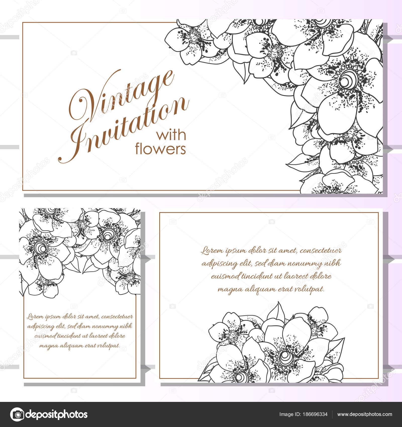 Vintage Stil Blume Hochzeitskarten Eingestellt Florale Elemente Und ...