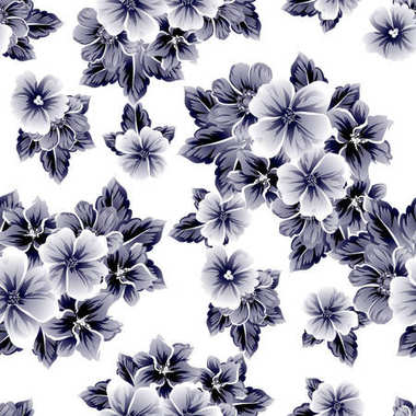 Seamless vintage style flower pattern. Floral elements on white.