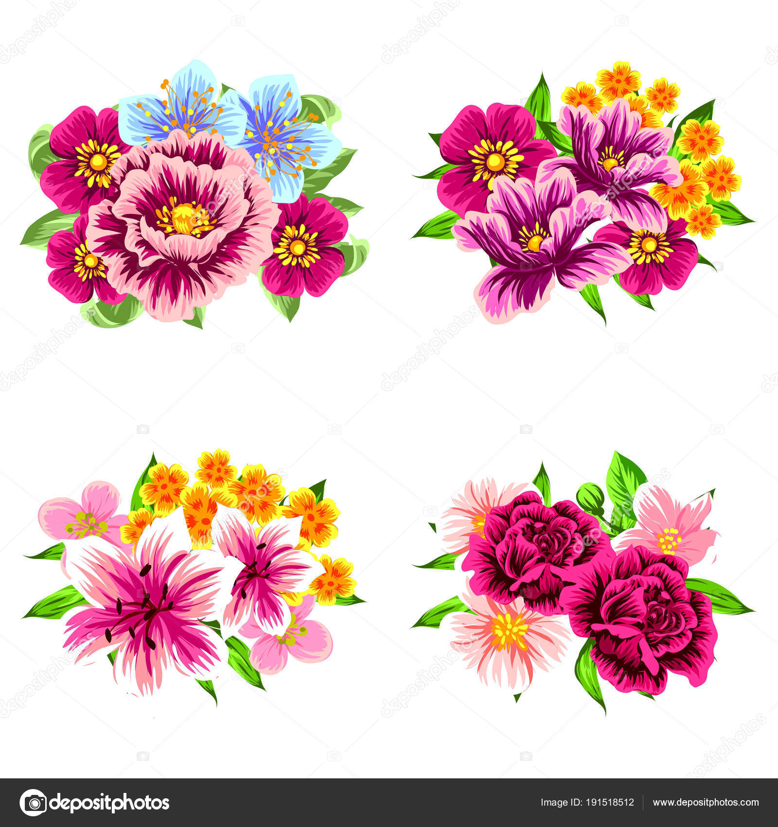 Set Four Colorful Flower Bouquets Isolated White Background — Stock ...