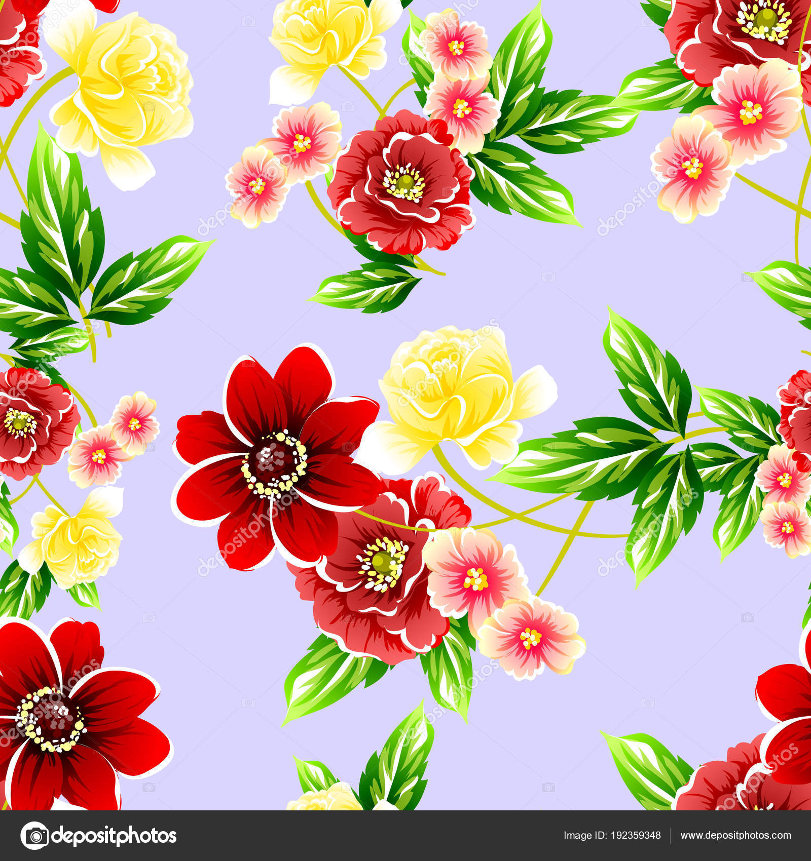 Seamless Vintage Style Flower Pattern Floral Elements Color — Stock ...