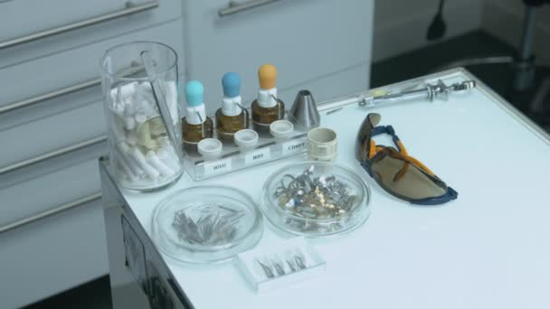Table with tools of the dentist