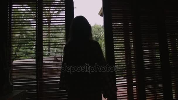Žena stojící silueta ve tmě a při pohledu na zahradu