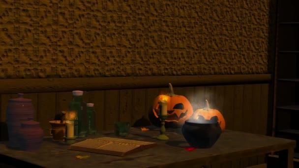 Halloween, mágia, bili, sütőtök, gyertyák, animáció