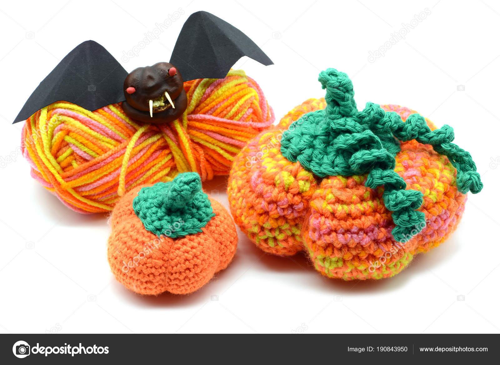 Herfst Decoratie Haak Pompoen En Halloween Knuppel Van Kastanje