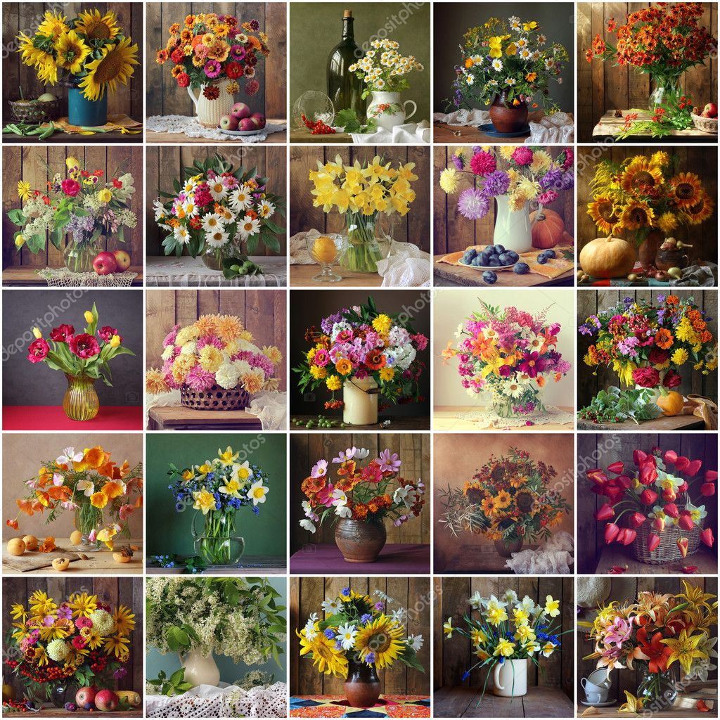Collage from still lifes with bouquets of cultivated flowers.