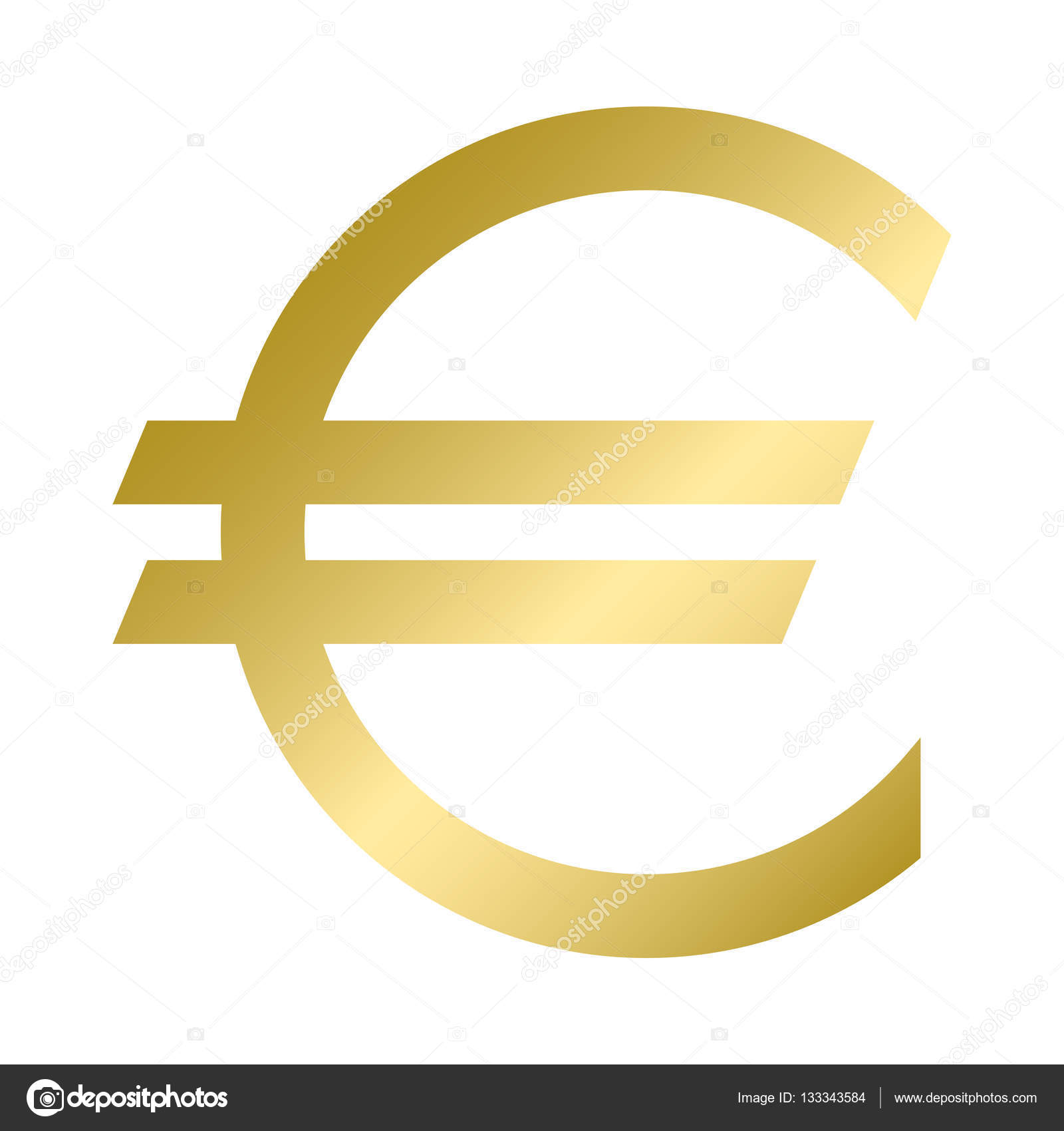 Euro Currency Symbol In Gold Color Vector Logo Stock Vector