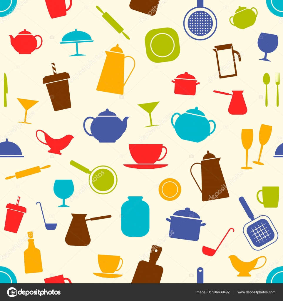 Seamless background with kitchen utensils vector Stock Vector