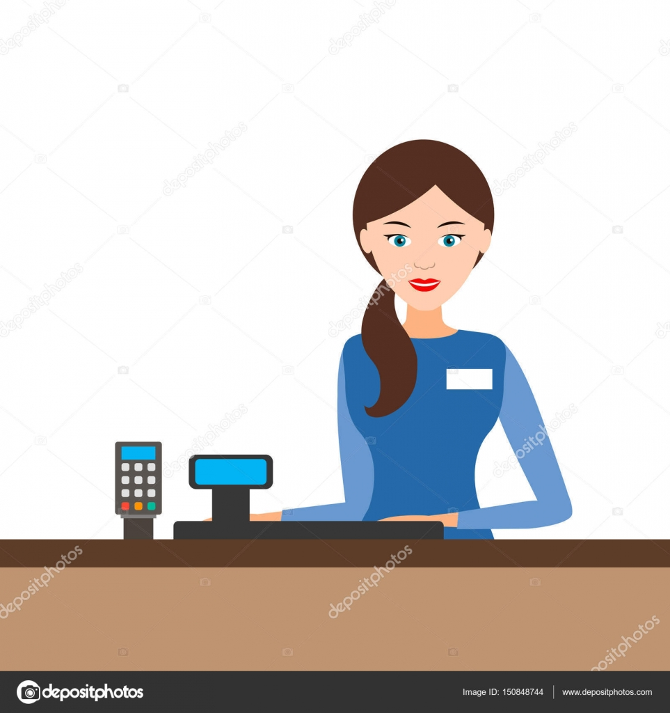 Cashier Cartoons: Young Cashier Girl Behind The Cash Register, Vector