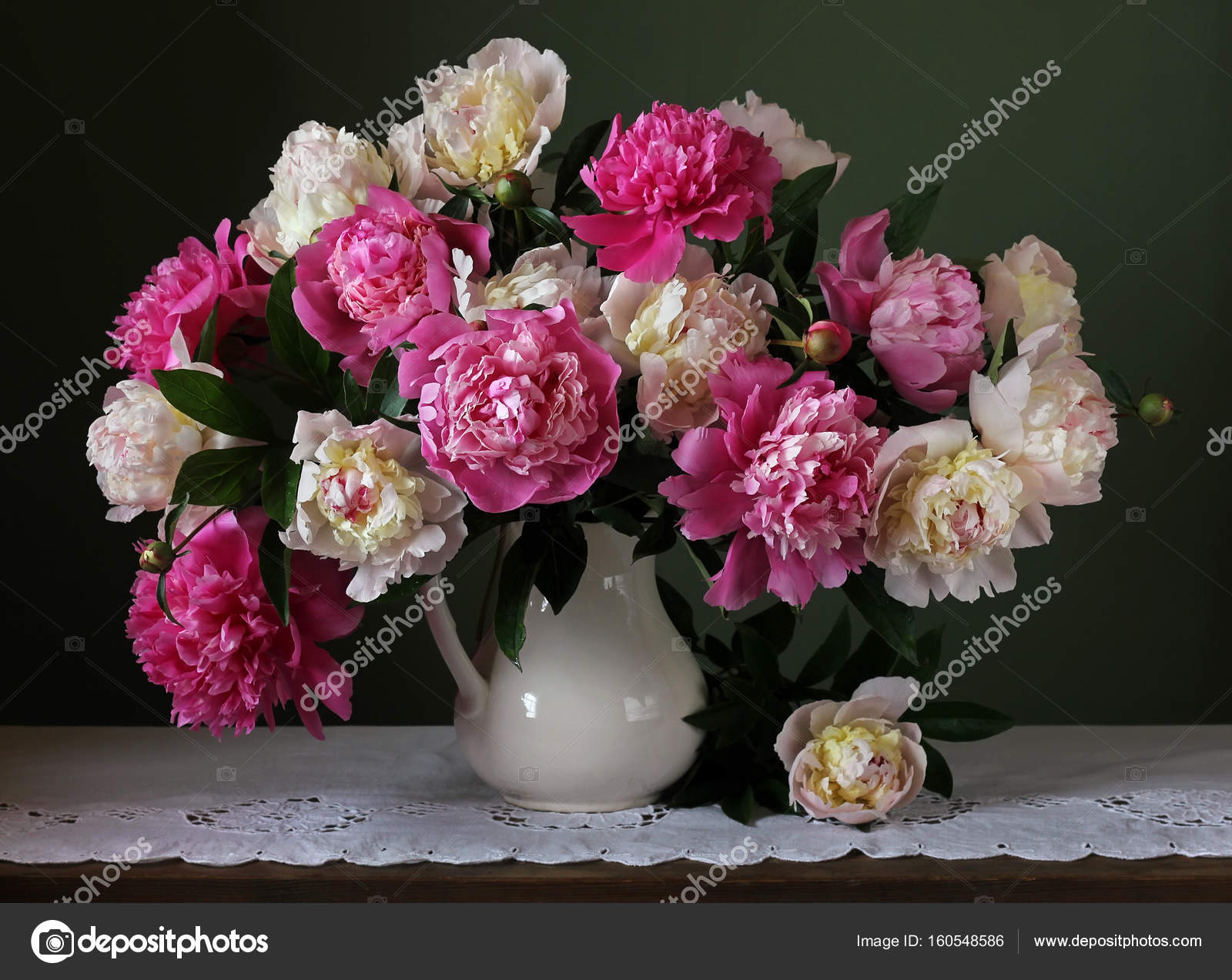 Bouquet of pink and white peonies flowers in a vase stock photo bouquet of pink and white peonies flowers in a vase still life with bouquet and jug photo by balagur mightylinksfo