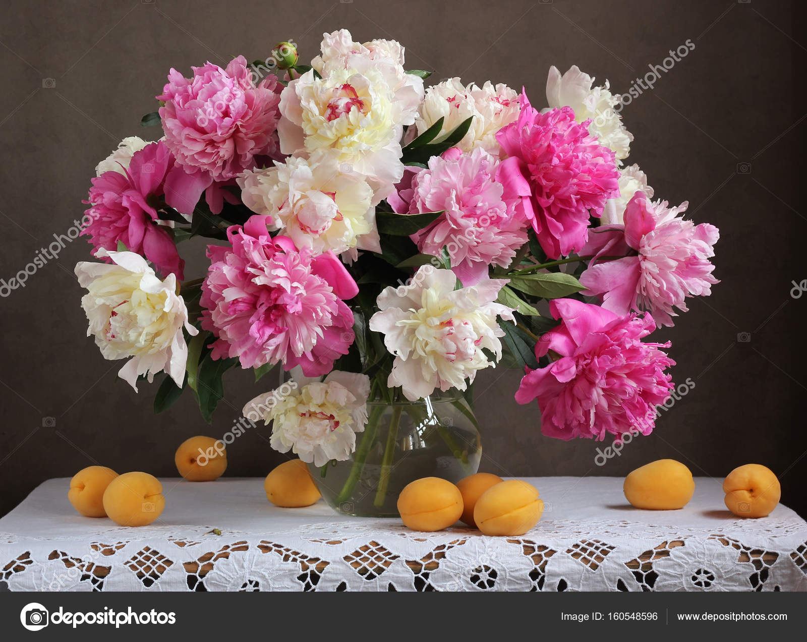 Pink and white peonies flowers in a vase and apricots on the ta pink and white peonies flowers in a vase and apricots on the ta stock mightylinksfo