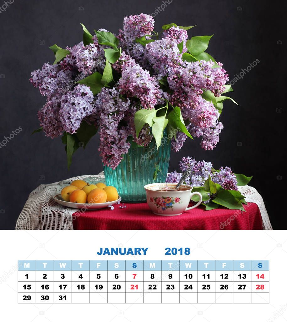 Design page calendar January 2018.  bouquet of lilacs.
