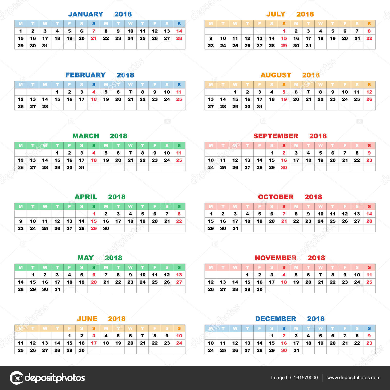 Kalender für das Jahr 2018. Vektor-illustration — Stockvektor ...