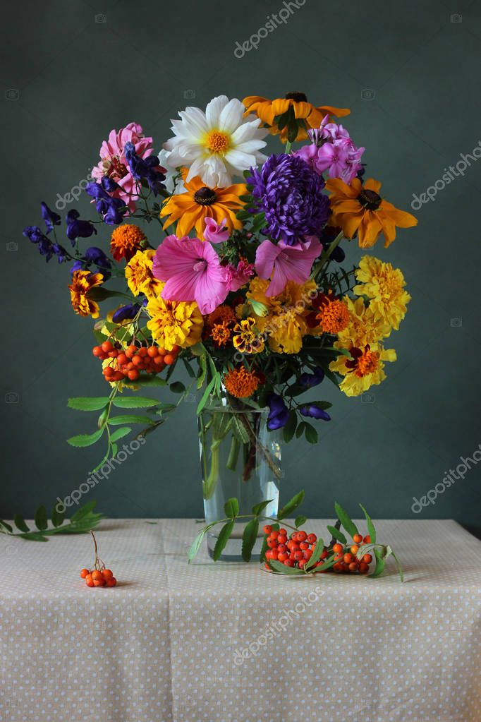 Autumn bouquet of garden flowers.