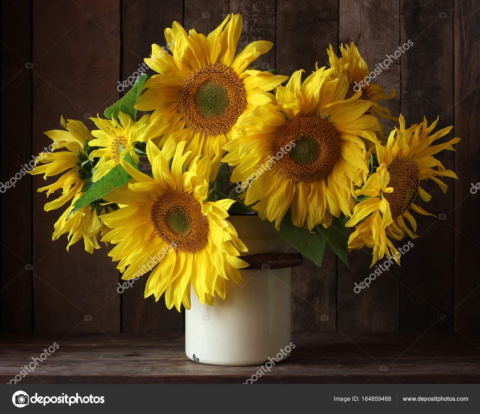 Bouquet Of Sunflowers In A Can On A Dark Background Stock Photo C Balagur 164859488