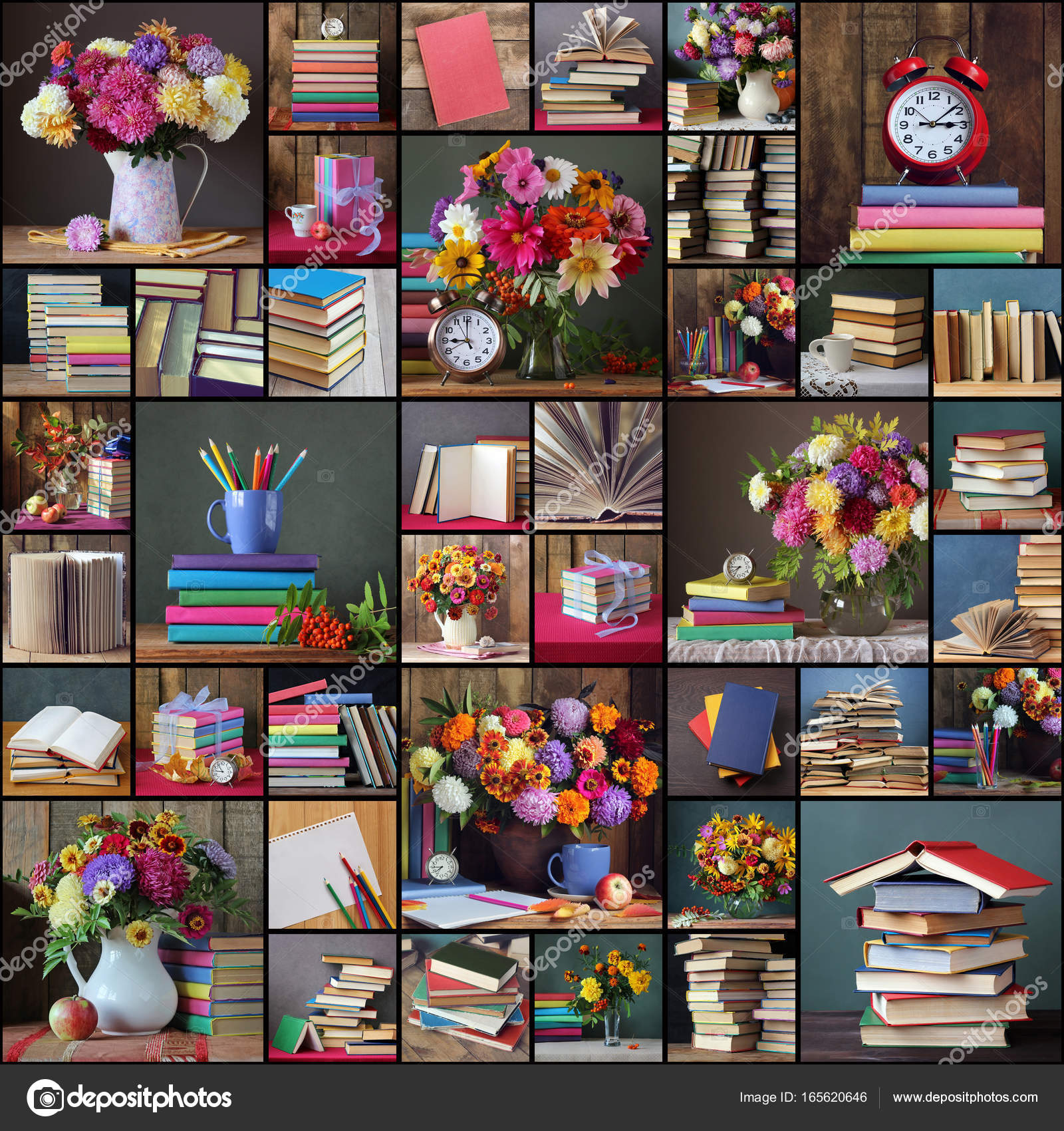 Back To School Collage Of Photos With Books And Bouquets Stock