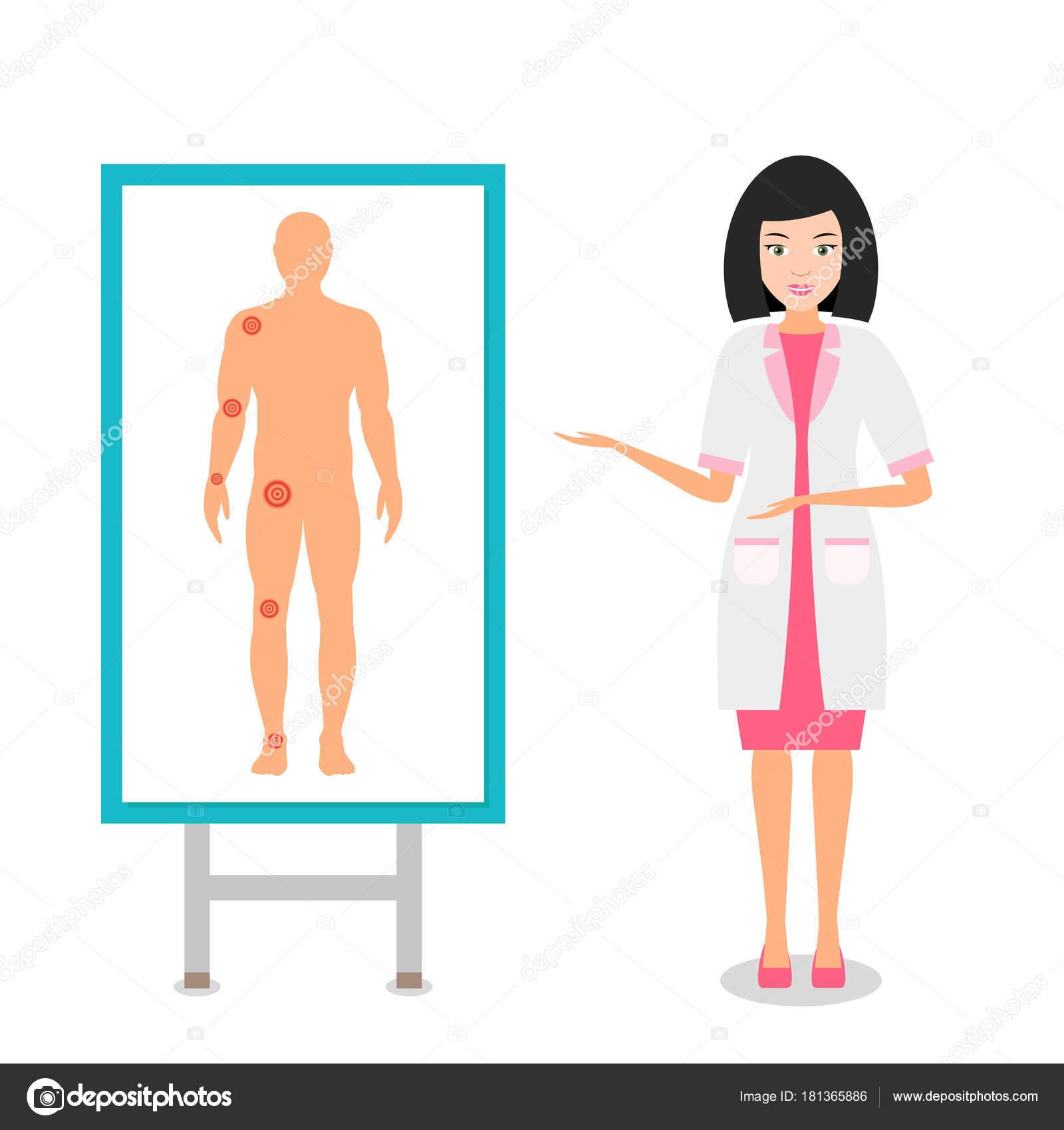 Enfermera en uniforme en el cartel muestra las articulaciones más ...