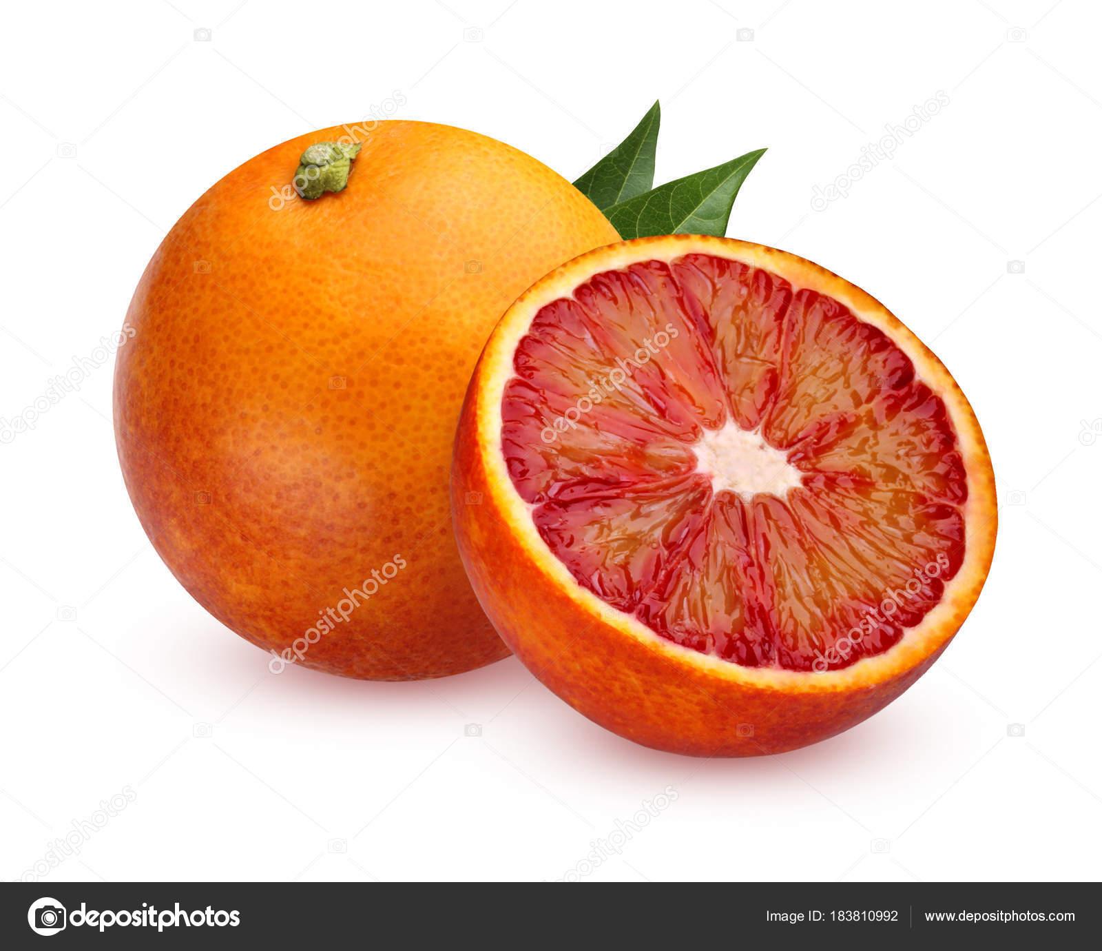 Uno Arance Tutto Rosso E Metà Isolata Su Sfondo Bianco Foto Stock
