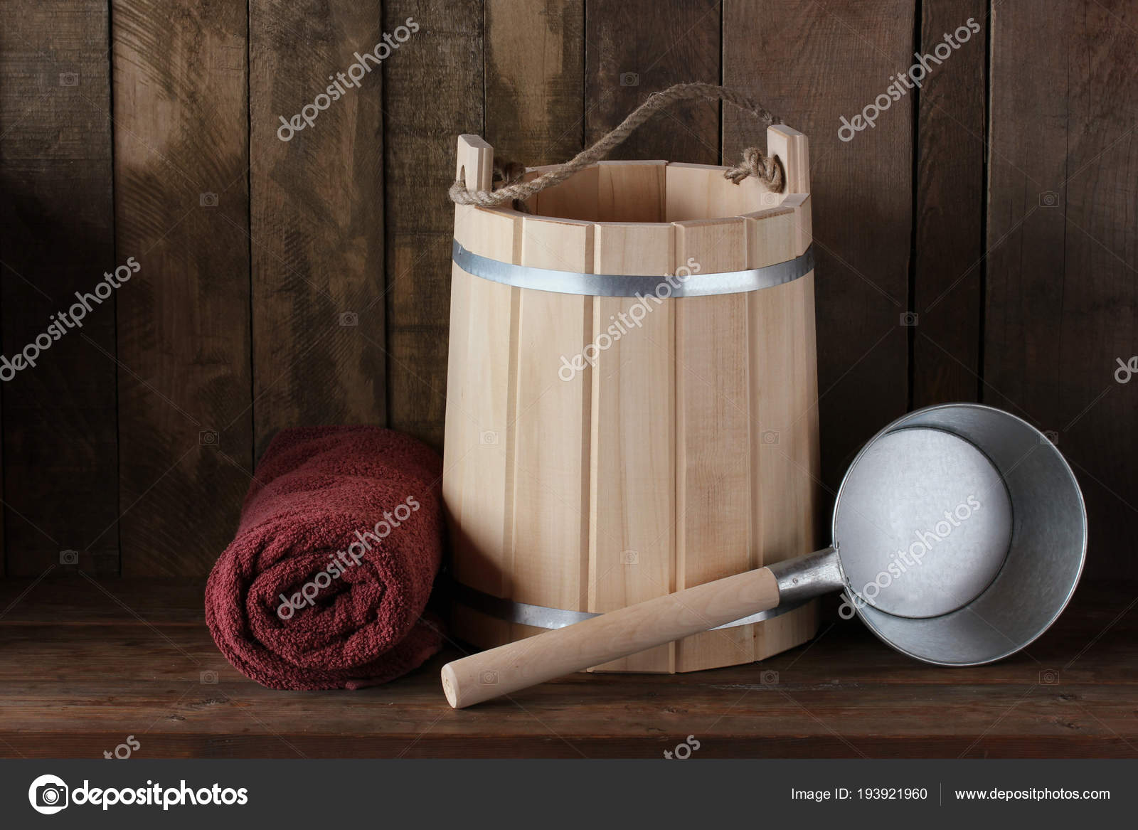Shelf in the bath or sauna: bucket, towel and ladle — Stock Photo ...
