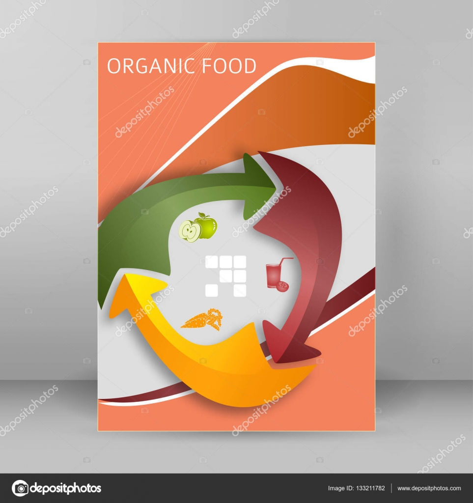 Organic food cover page booklet report format A4 arrow ...