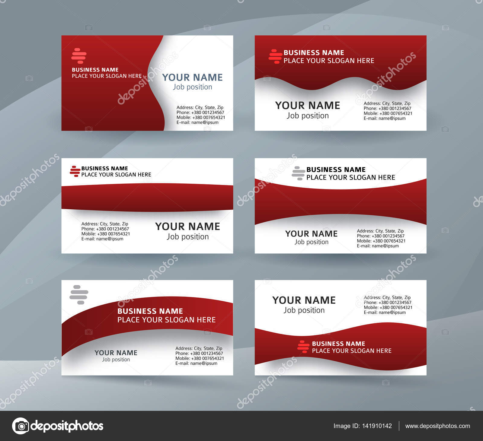 Set of simple pattern business card layout sided red04 stock abstract professional and designer business card template or clear and minimal visiting card set name card red background vector illustration eps 10 for reheart Images