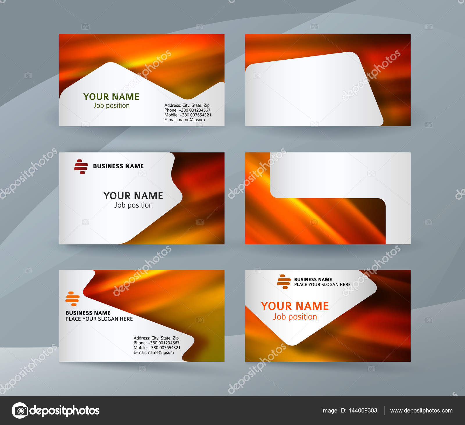 Business Card Layout Template Set Stock Vector Silvercircle - Business card layout template