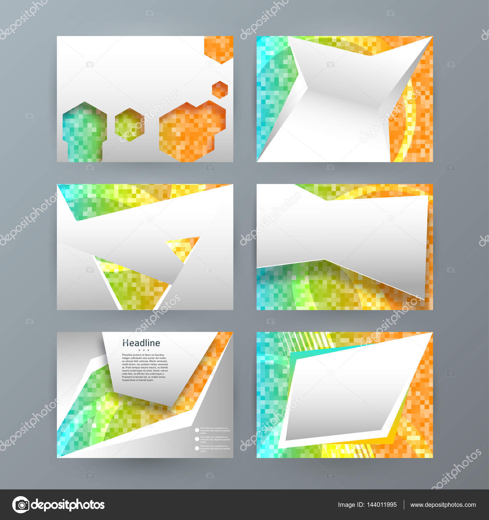 design elements presentation template set horizontal banners background mosaic glow light effect vector illustration eps 10 for brochure template - Powerpoint Brochure Templates