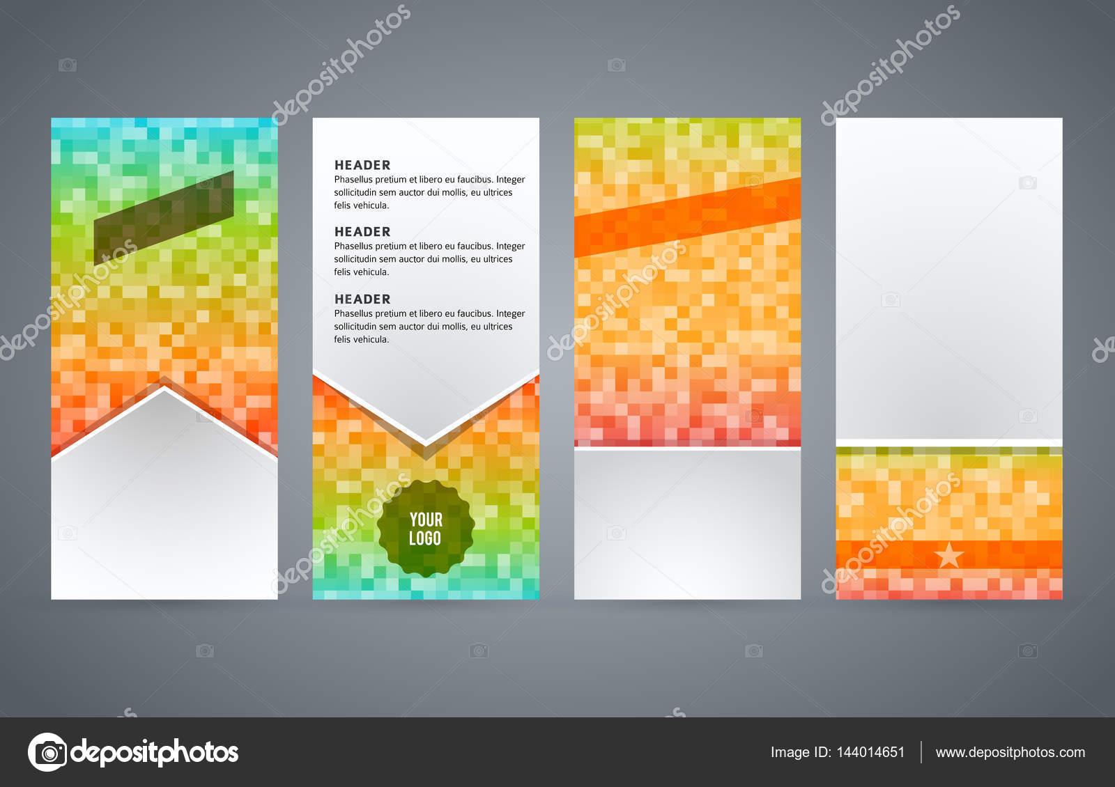 set templates vertical flyer layout glow effect01 stock vector