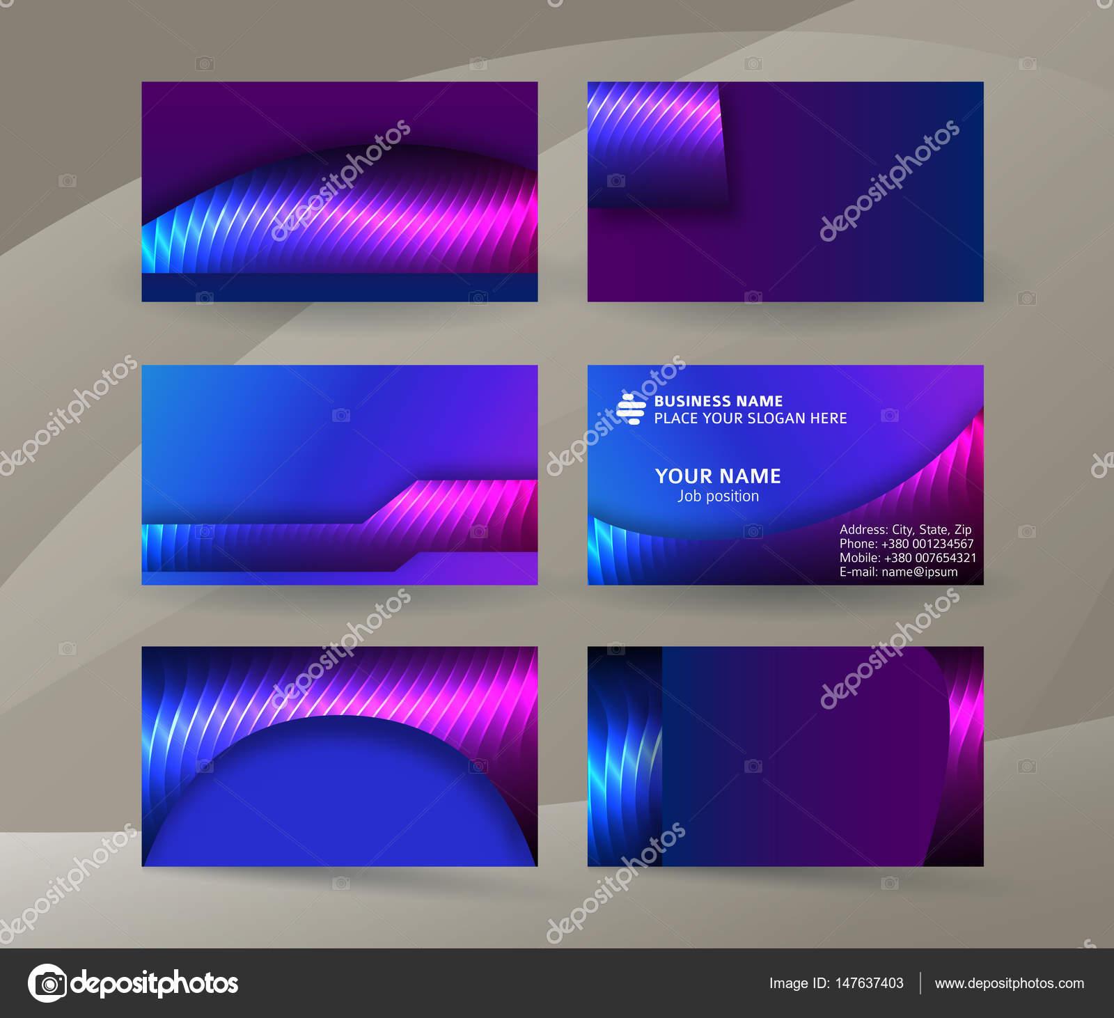 Visitenkarte Hintergrund Blau Magenta Neon Effect02