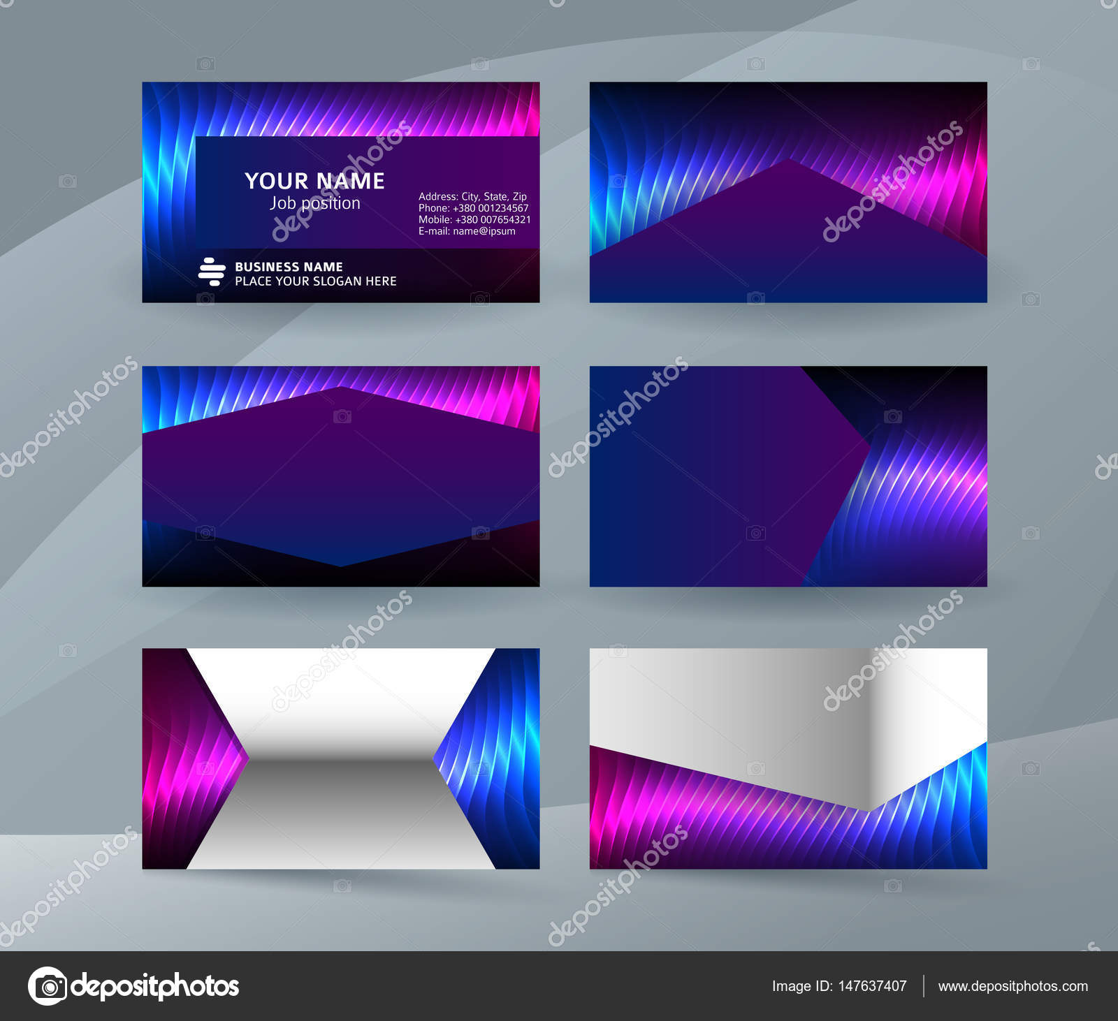 Business Card Background Blue Magenta Neon Effect03 Stock Vector