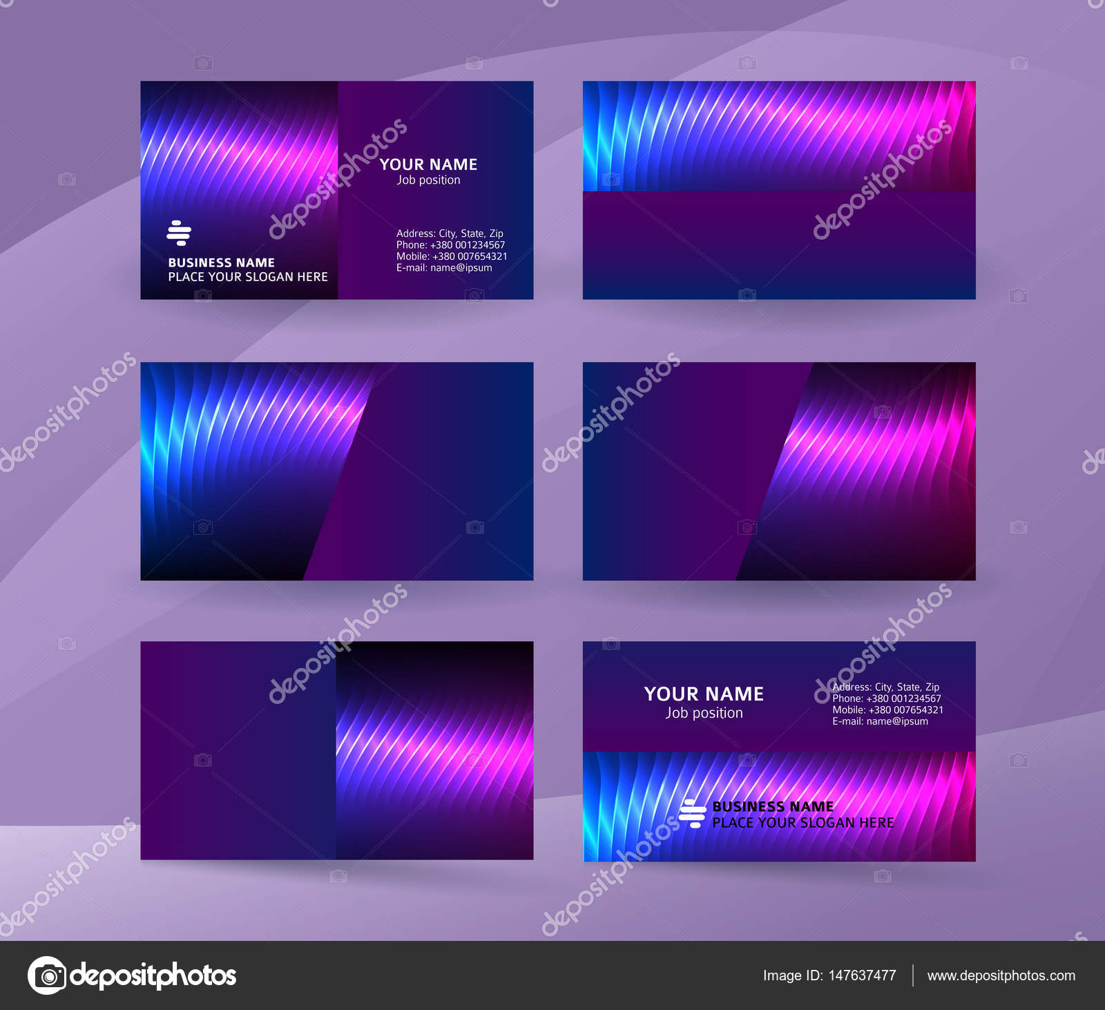 Abstract Professional And Designer Business Card Template Or Clear Minimal Visiting Set Name Purple Background Vector Illustration EPS 10
