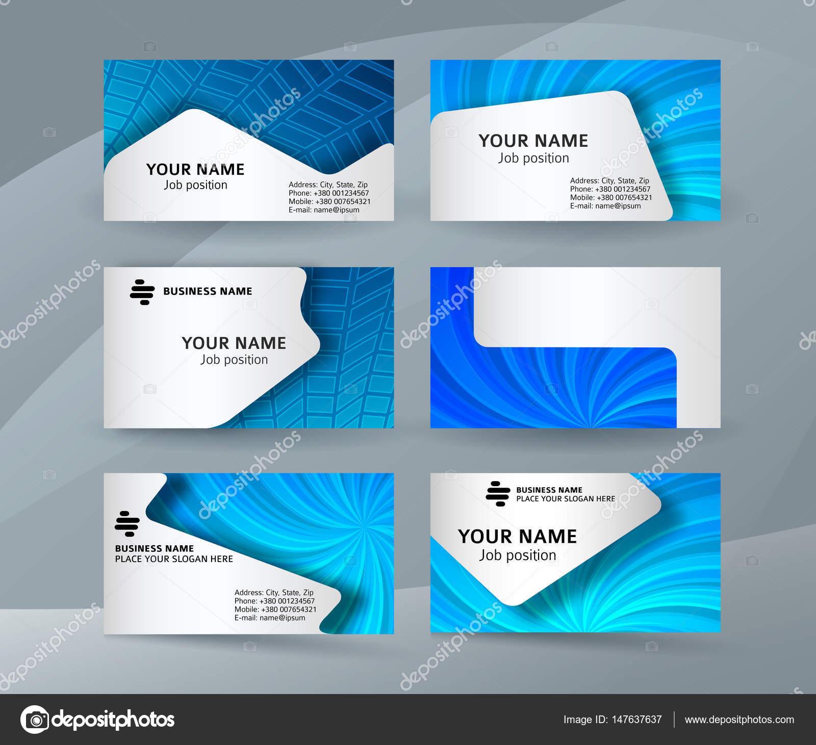 Fond De Carte Visite Bleu Jeu Templates02 Horizontale Image Vectorielle