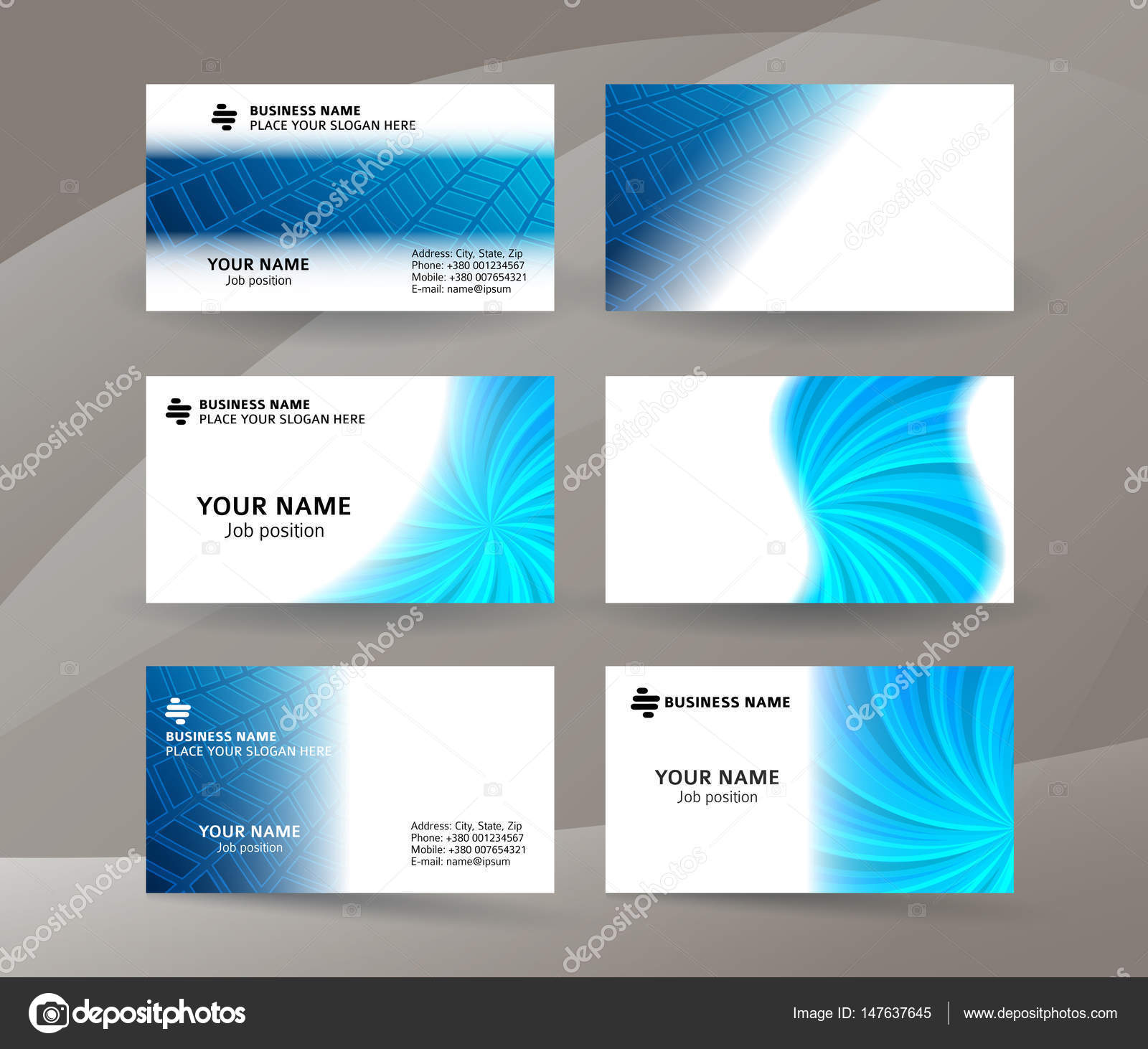 Business Card Background Blue Set Of Horizontal Templates03 Stock