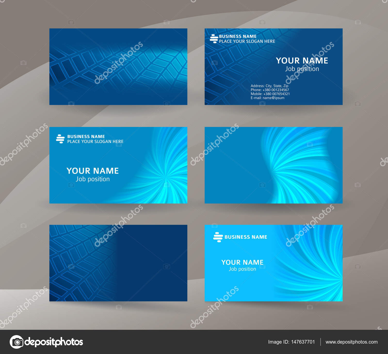 Business Card Background Blue Set Of Horizontal Templates05