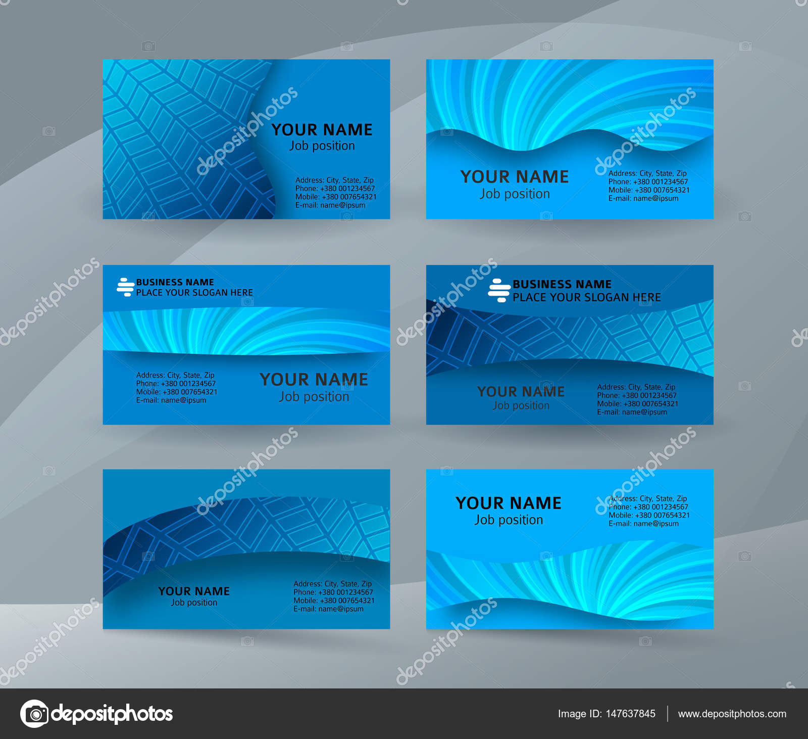 Business card background blue set of horizontal templates10 stock abstract professional and designer business card one sided template or clear and minimal visiting card set name card blue background colourmoves
