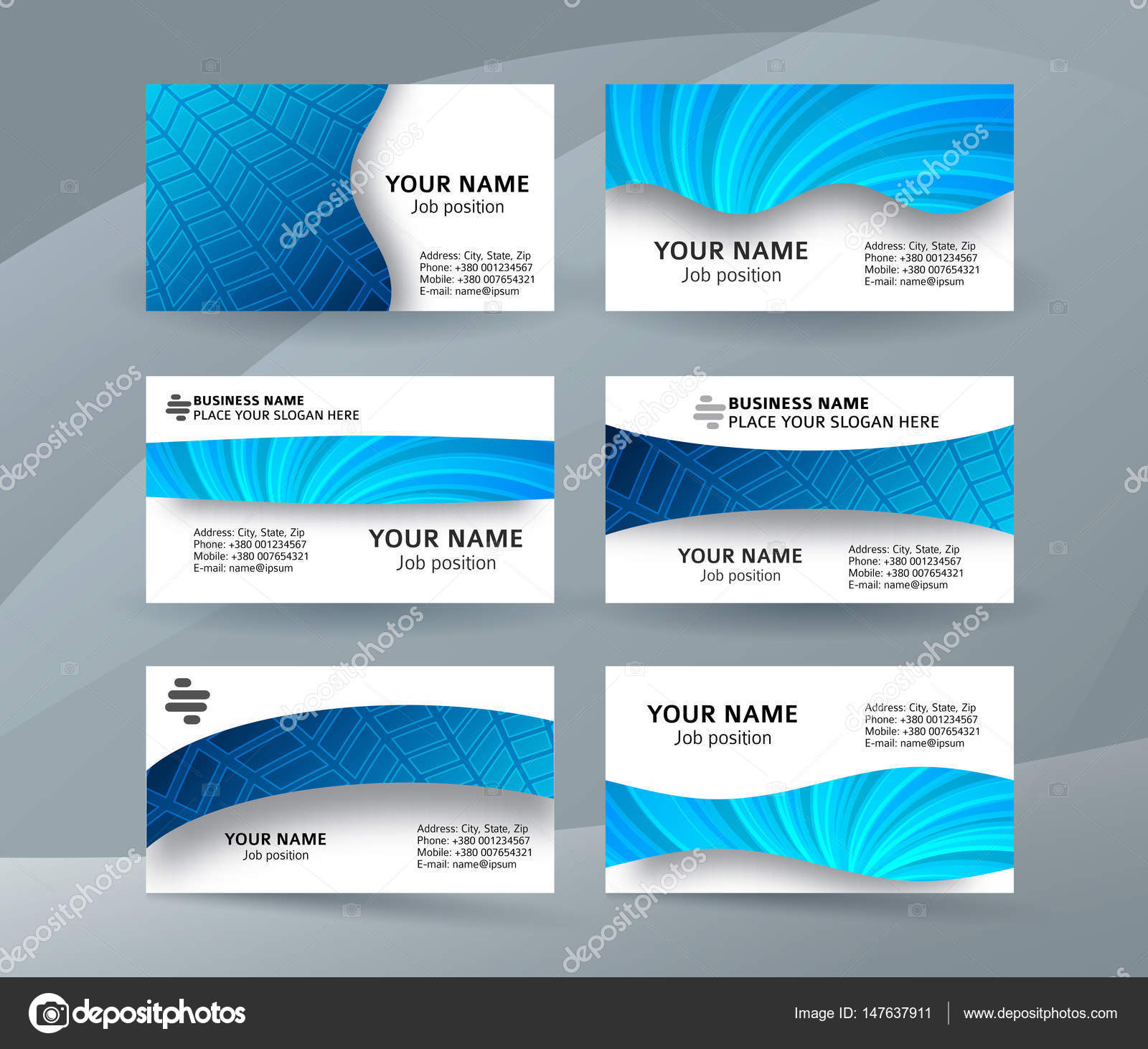 Business card background blue set of horizontal templates11 stock abstract professional and designer business card one sided template or clear and minimal visiting card set name card blue background colourmoves
