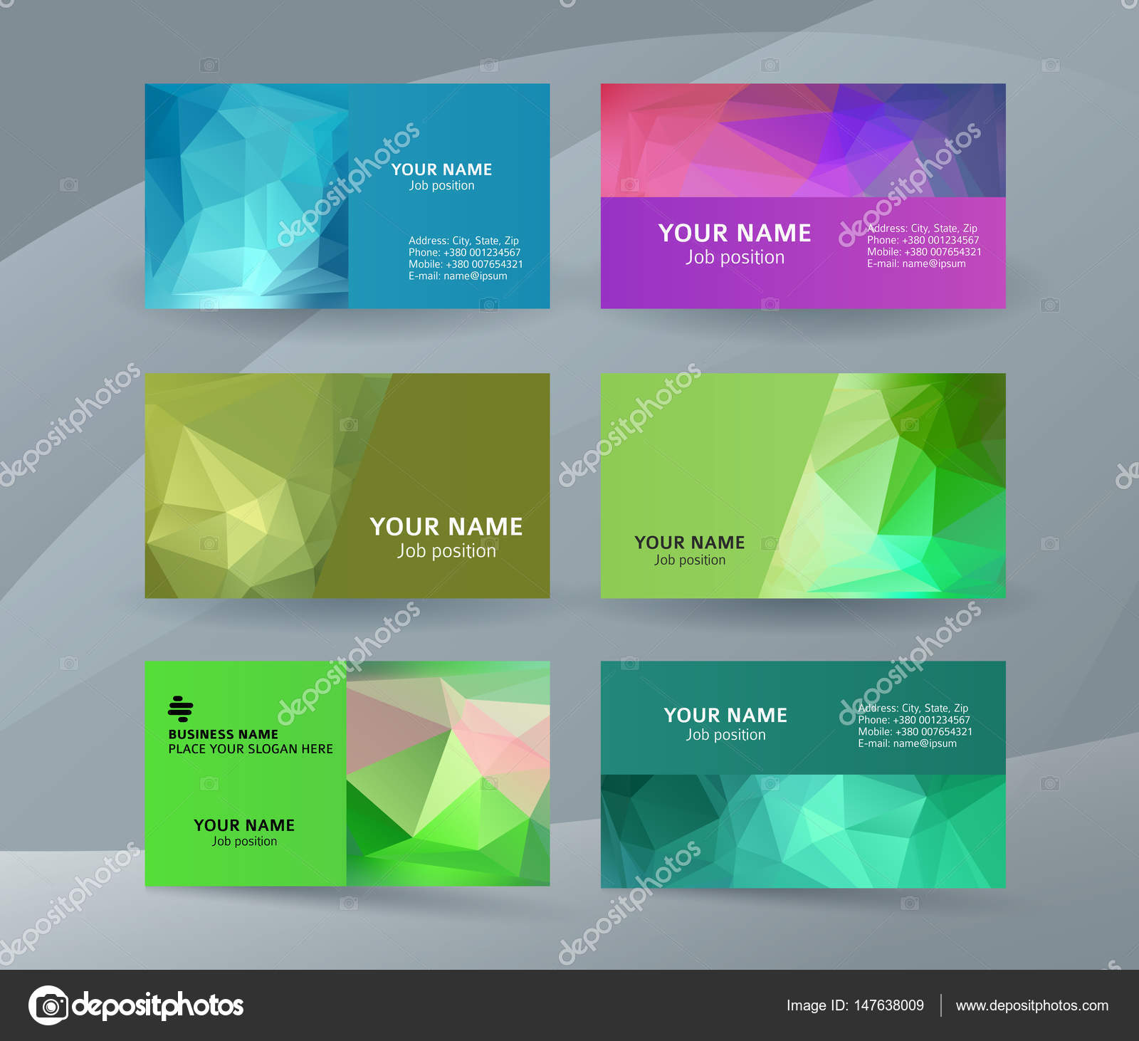 Abstract Professional And Designer Business Card One Sided Template Or Clear Minimal Visiting Set Name Colors Background