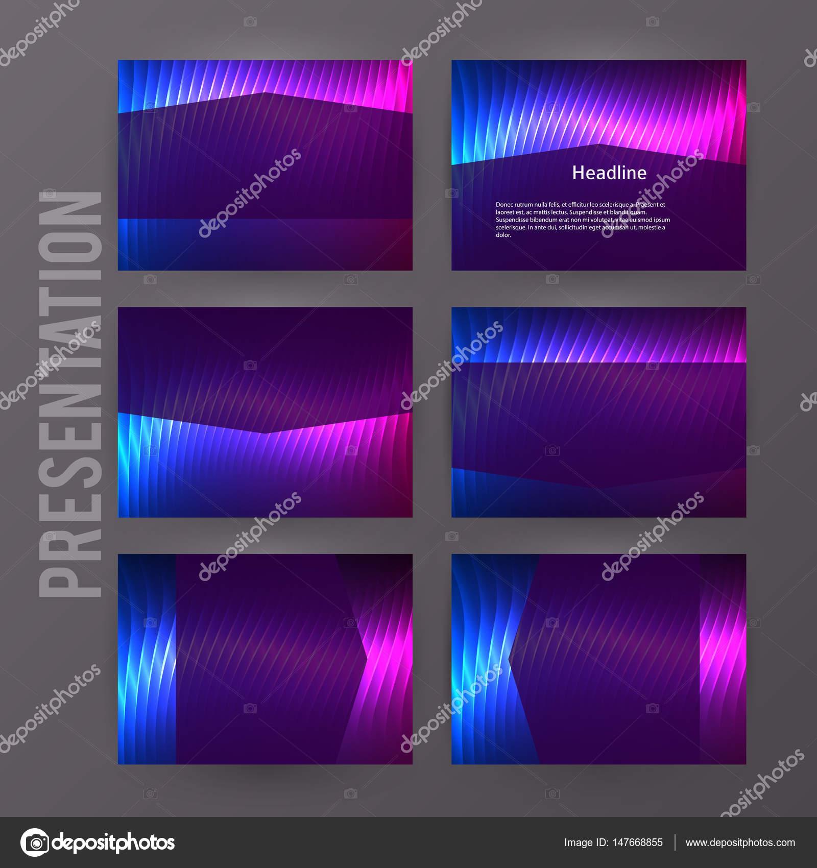 Presentación plantilla powerpoint fondo aurora boreal neón e ...