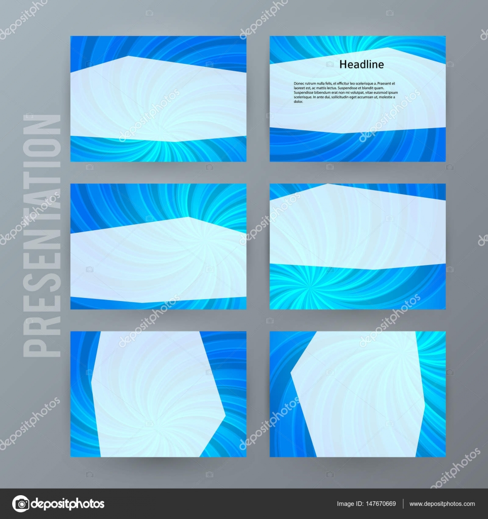 Presentation Template Set For Powerpoint Background Blue13 Stock
