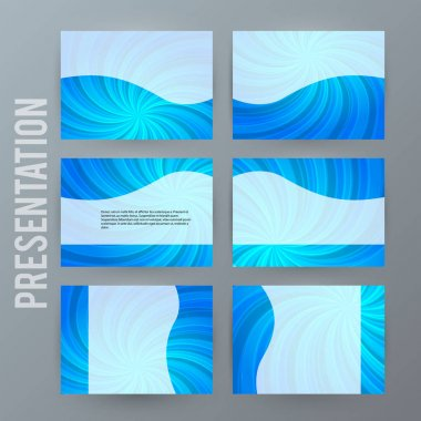 Presentation template set for powerpoint background blue09