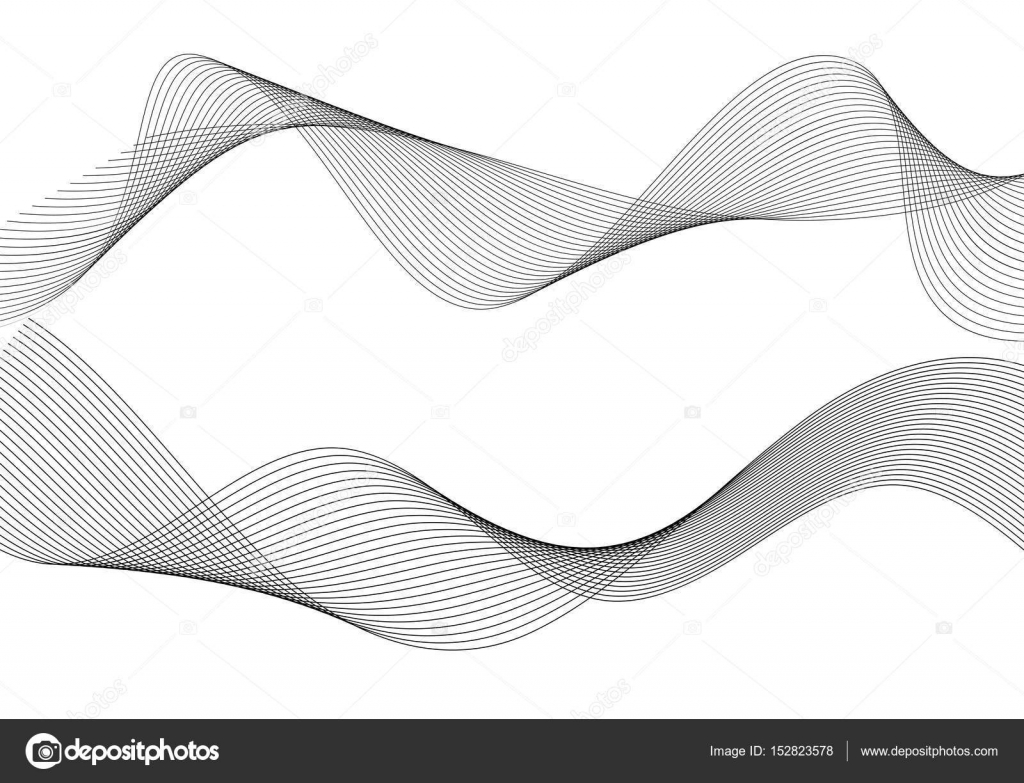 Line Art Ribbon : Design element wavy ribbon from many parallel lines39 u2014 stock vector