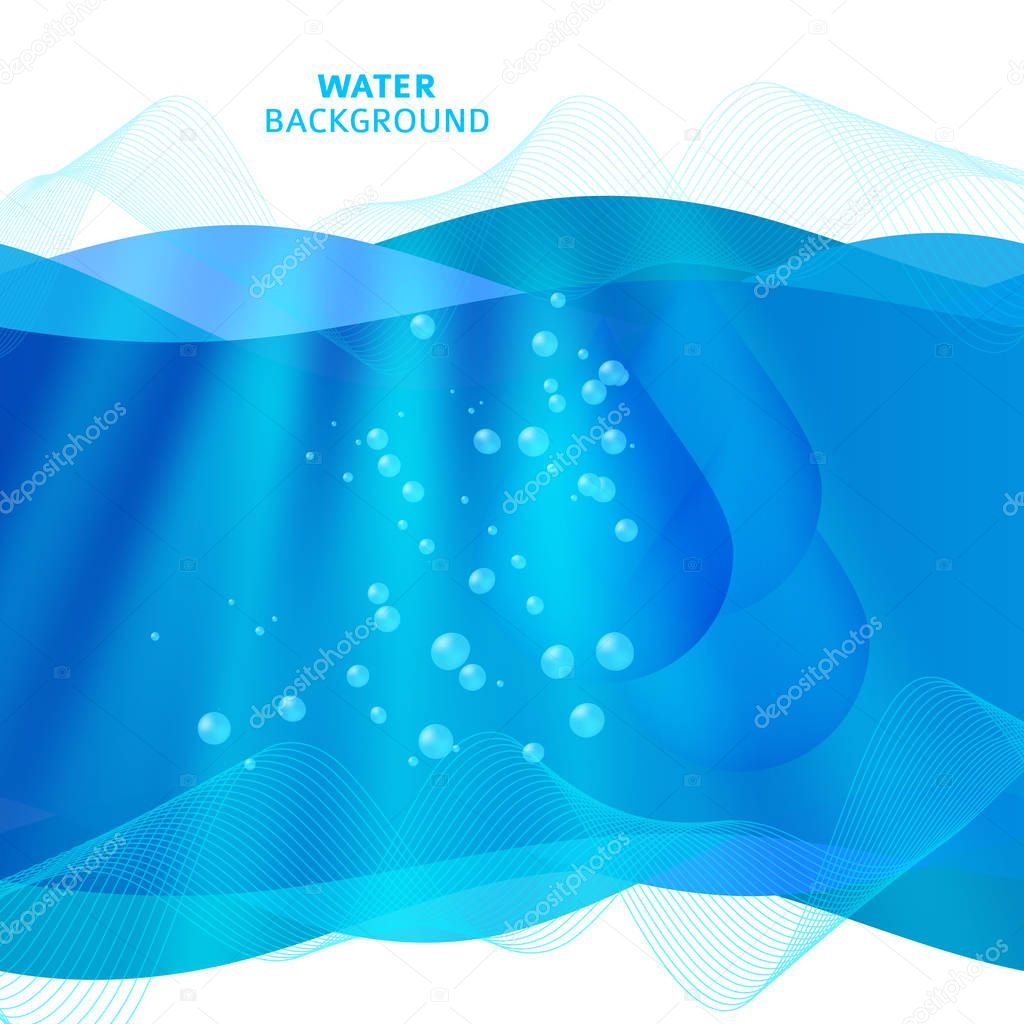 Fresh Water background of bright glowing blue blur with drops05