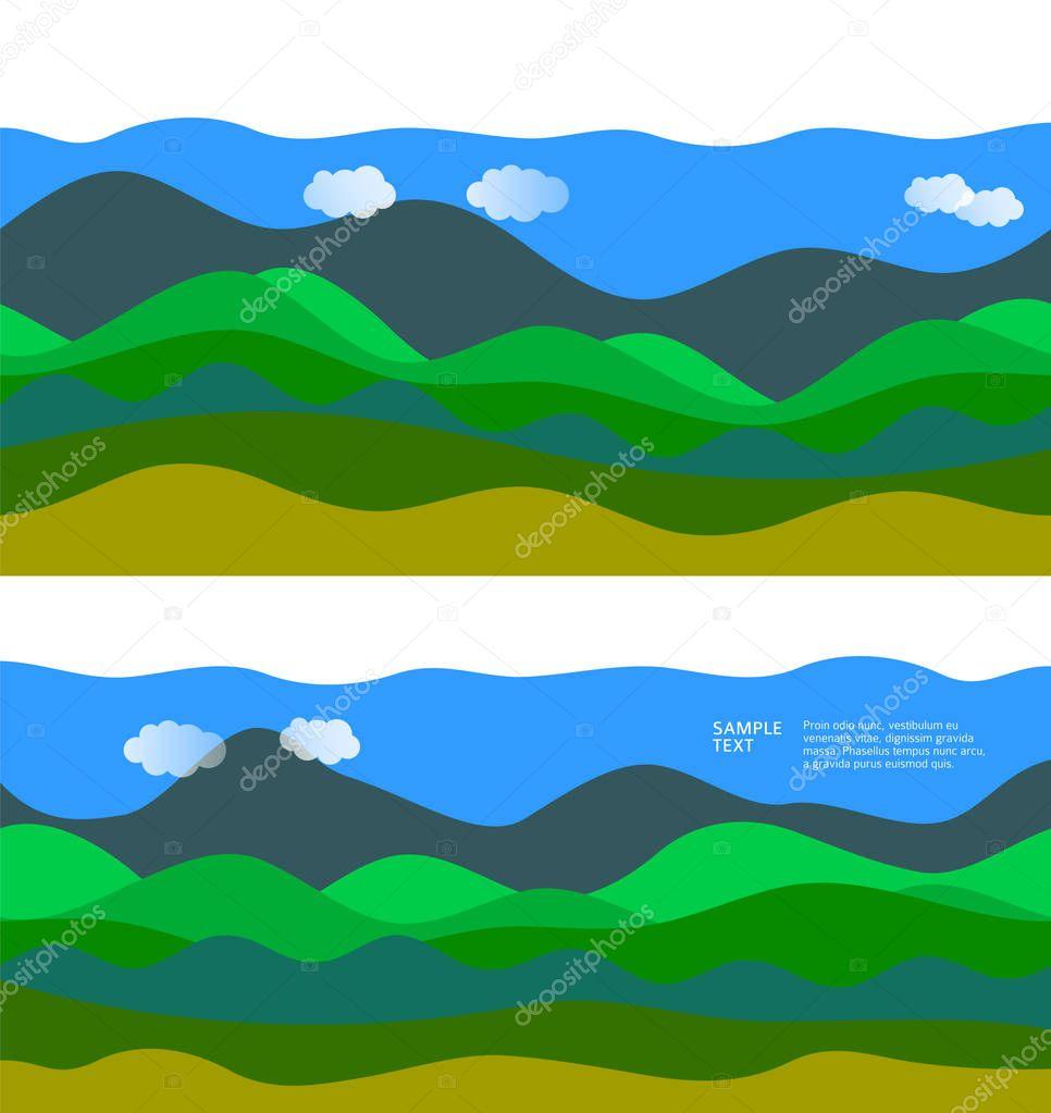 landscape hilly terrain wavy wave design elements background