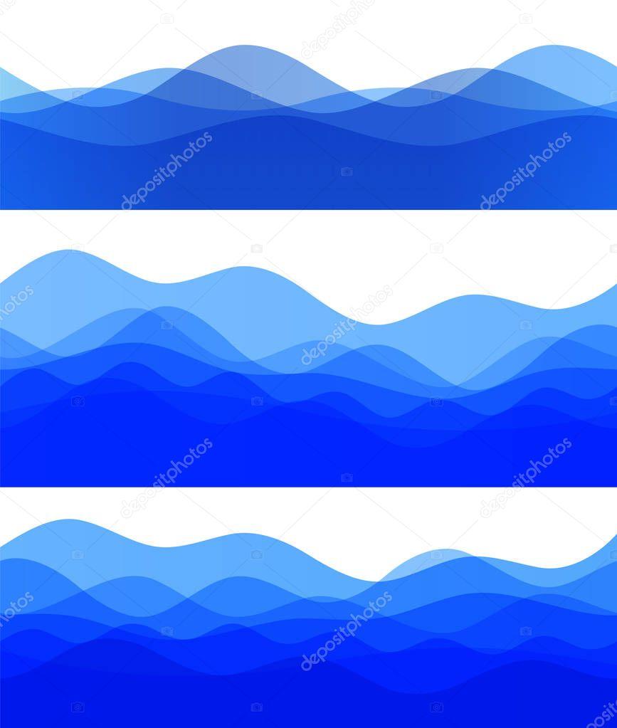 Wavy blue wave design elements background team sea ocean08