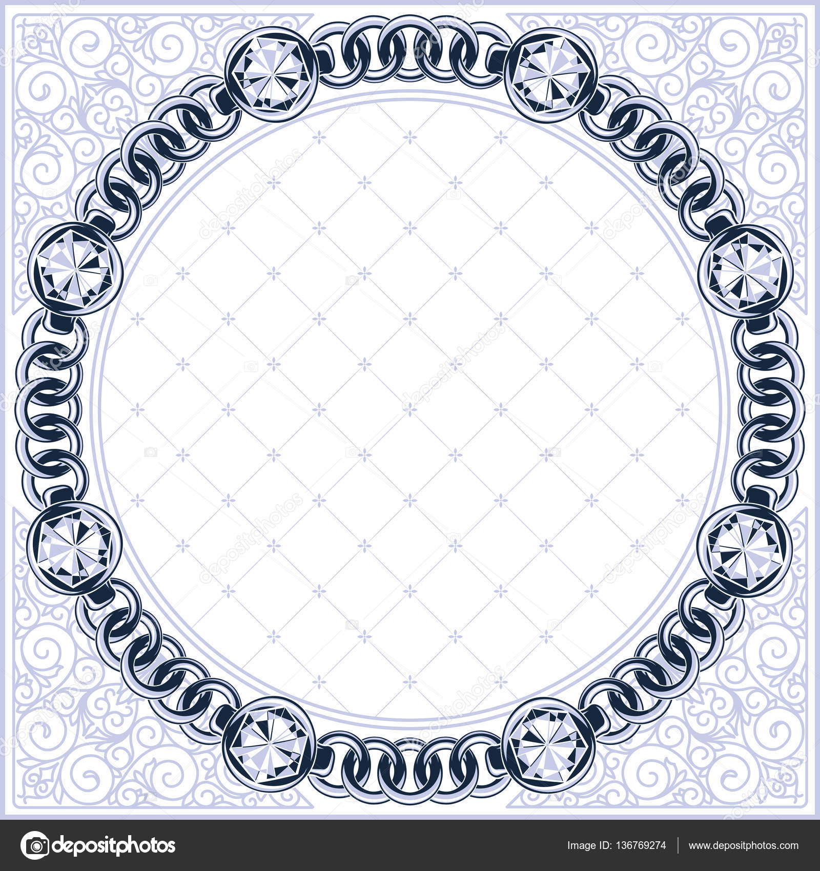 Marco con eslabones de la cadena y diamantes — Vector de stock ...