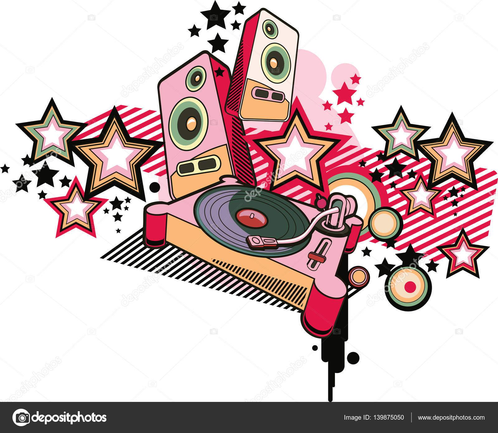 Music design turntable graffiti stock vector