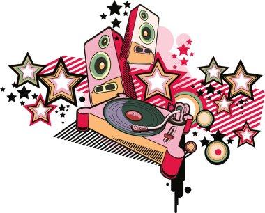 music design turntable graffiti